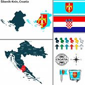 Vector Map Of Sibenik Knin And Location On Croatian Map poster