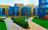 Modern New Residential Apartment House Building Complex Outdoor Facilities Bench Reflex poster