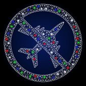 Glowing White Mesh No Airplane With Glitter Effect. Abstract Illuminated Model Of No Airplane. Shiny poster