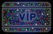 Flare White Mesh Vip Access Card With Glare Effect. Abstract Illuminated Model Of Vip Access Card. S poster
