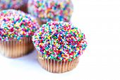Cupcakes with Sprinkles over White Background poster