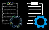 Glowing Mesh Smart Contract Gear Icon With Sparkle Effect. Abstract Illuminated Model Of Smart Contr poster
