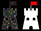 Glowing Mesh Fortress Tower Icon With Glow Effect. Abstract Illuminated Model Of Fortress Tower. Shi poster