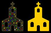 Glossy Mesh Christian Church Icon With Glitter Effect. Abstract Illuminated Model Of Christian Churc poster