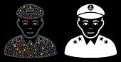 Bright Mesh Military Captain Icon With Lightspot Effect. Abstract Illuminated Model Of Military Capt poster