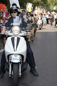 NEW YORK-JUNE 22: Police on motorcycles ride next to hundreds of supporters as they march in Lower M