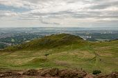 Landscape Of Edinburgh City In Scotland Viewed From Arthurs Seat In Overcast Weather poster