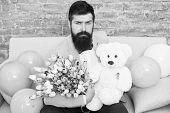 Macho Getting Ready Romantic Date. Man Wear Blue Tuxedo Bow Tie Hold Flowers Bouquet. Best Boyfriend poster