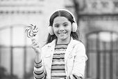 Happy Kid Singing Sweet Candy Mic. Happy Childhood. Kid Child Headphones Holding Lollipop Candy. Hap poster
