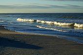 Large Cresting Waves On Bonita Beach At The Gulf Of Mexico In Bonita Springs Florida At Sunrise. poster