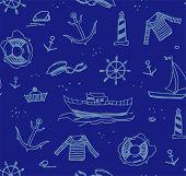 Marine Drawings, Seamless Pattern, Color, Dark Blue, Vector/marine Drawings, Seamless Pattern, Color poster