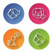 Set Line Veterinary Clinic Symbol, Veterinary Clinic Symbol, Veterinary Clinic Symbol And Veterinary poster