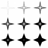 Set Stars With Different Thickness Of Outline Shapes, Vector Thin And Thick Stars, Glitter Flash poster