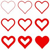 Set Red Hearts With Different Stroke Thickness, Vector Icon Logo Thin And Thick Hearts Sign Love Sym poster
