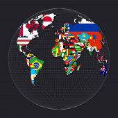 World Map With Flags. Gilberts Two-world Perspective Projection. Map Of The World With Meridians On poster
