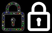 Glossy Mesh Lock Icon With Glare Effect. Abstract Illuminated Model Of Lock. Shiny Wire Carcass Tria poster
