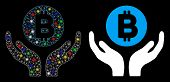Glowing Mesh Bitcoin Support Hands Icon With Glare Effect. Abstract Illuminated Model Of Bitcoin Sup poster