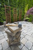 Stack Of Pavers On Backyard Garden Patio