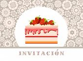 Invitation To Celebration, Strawberry Cake, Spanish, Gray, Floral, Vector/invitation To Celebration, poster