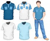 Vector. Men's v-neck t-shirt & polo-shirts design template (front view)