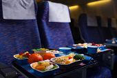 image of first class  - Tray of food on the plane - JPG