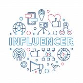 Influencer Vector Round Concept Creative Thin Line Illustration Or Banner poster