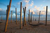 Dramatic Sunset On The Empty Beach, Hjerting, Jutland, Denmark. Hjerting Is A District Of Esbjerg In poster