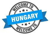 Hungary Stamp. Welcome To Hungary Blue Sign poster