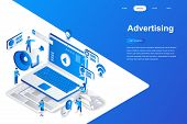 Advertising And Promo Modern Flat Design Isometric Concept. Advertisement And People Concept. Landin poster