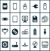 Hardware Icons Set With Monitor Cable, Modem, Photocopy Machine And Other Control Device Elements. I poster