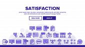 Satisfaction Feedback Landing Web Page Header Banner Template Vector. Happy And Unhappy Smiles On Co poster