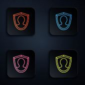 Color Neon Line User Protection Icon Isolated On Black Background. Secure User Login, Password Prote poster