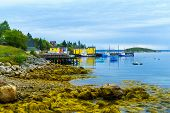 Views Of The Bay, Boats And Waterfront Buildings In Northwest Cove, Nova Scotia, Canada poster