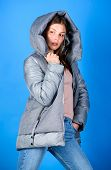 Look Fashionable. Street Style. Girl Wear Fashion Clothes. Winter Outfit Concept. Purposeful Layerin poster