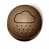 Brown Line Cloud With Rain Icon Isolated On White Background. Rain Cloud Precipitation With Rain Dro poster