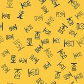 Blue Line Fountain Pen Nib Icon Isolated Seamless Pattern On Yellow Background. Pen Tool Sign. Vecto poster