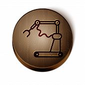 Brown Line Industrial Machine Robotic Robot Arm Hand Factory Icon Isolated On White Background. Indu poster