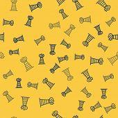 Blue Line Antenna Icon Isolated Seamless Pattern On Yellow Background. Radio Antenna Wireless. Techn poster