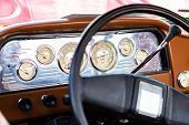 Classic Antique Car Black Steering Wheel And Brown Dashboard Close Up, Simple Old Style Cars Interio poster