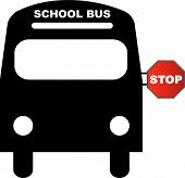 Bus Front School With Stop Sign.