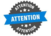 Attention Sign. Attention Blue-black Circular Band Label poster