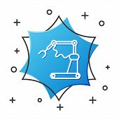 White Line Industrial Machine Robotic Robot Arm Hand Factory Icon Isolated On White Background. Indu poster