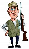 Cartoon hunter holding his gun.