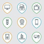 Gadget Icons Set With Desktop Pc, Tv, Phone And Other Broadcast Elements. Isolated Illustration Gadg poster