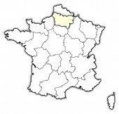 Map Of France, Picardy Highlighted