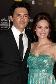 LOS ANGELES - JUN 23:  Michael Saucedo, Rebecca Herbst arrives at the 2012 Daytime Emmy Awards at Be