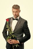 Make Good First Impression. Valentines Day And Anniversary. Romantic Gentleman. Man Mature Confident poster