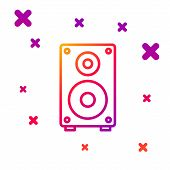 Color Line Stereo Speaker Icon Isolated On White Background. Sound System Speakers. Music Icon. Musi poster