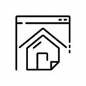 Black Line Icon For Homepage  Website Residence Mortgage  Landing  Page Home poster