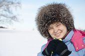 Woman Tourist Skier In Snowy Forest